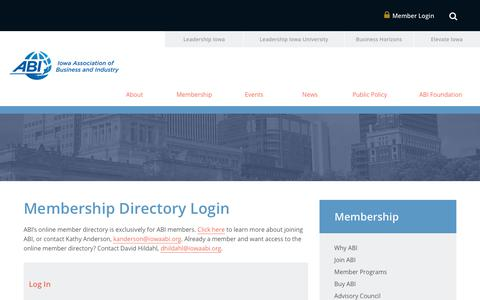 Screenshot of Login Page iowaabi.org - Membership Directory Login   Iowa Association of Business and Industry - captured Oct. 15, 2017