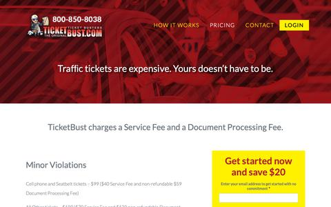 Screenshot of Pricing Page ticketbust.com - What is the price of contesting Traffic Tickets? -TicketBust.com - captured Sept. 26, 2018