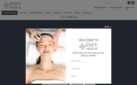 Screenshot of Contact Page envymedical.com - Contact Envy Medical for Advanced Skincare - captured Sept. 28, 2018