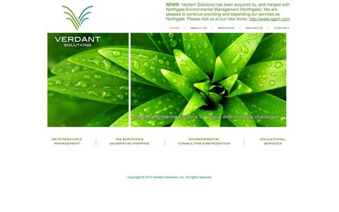 Screenshot of Home Page verdant-solutions.com - Welcome to Verdant Solutions, Inc. – Environmental Consulting GIS/GeoSpatial Services, Data Resource Management, and Educational Services - captured Oct. 9, 2014