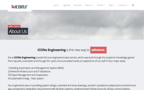 Screenshot of About Page iconsengineering.com - About Us | Icons Engineering - captured Oct. 3, 2014