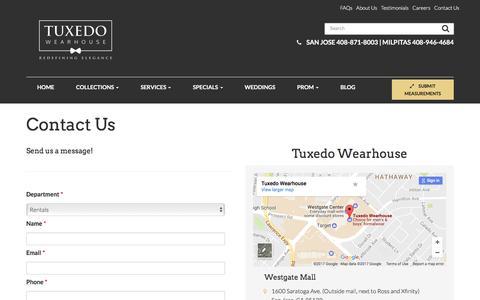 Contact Us - Milpitas & San Jose   Tuxedo Wearhouse