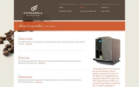 Screenshot of Case Studies Page concordiacoffee.com - Concordia case studies   Concordia Beverage Systems - captured Sept. 13, 2014