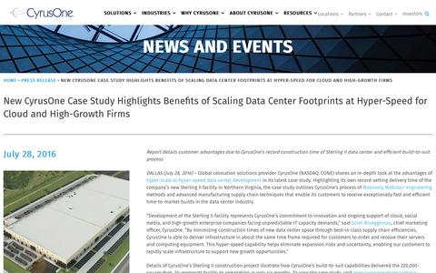 Screenshot of Case Studies Page cyrusone.com - New CyrusOne Case Study Highlights Benefits of Scaling Data Center Footprints at Hyper-Speed for Cloud and High-Growth Firms - CyrusOne - captured Nov. 27, 2019