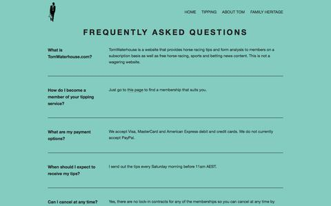 Screenshot of FAQ Page tomwaterhouse.com - Frequently Asked Questions — TomWaterhouse.com - captured Aug. 1, 2018