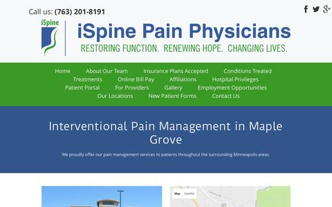 Screenshot of Locations Page ispinepainphysicians.com - Interventional Pain Management | Maple Grove, MN | iSpine Pain Physicians - captured Nov. 26, 2016