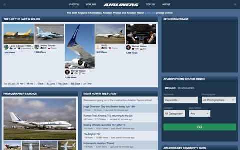 Screenshot of Home Page airliners.net - Airliners.net | Aviation Photography, Discussion Forums & News - captured June 20, 2017
