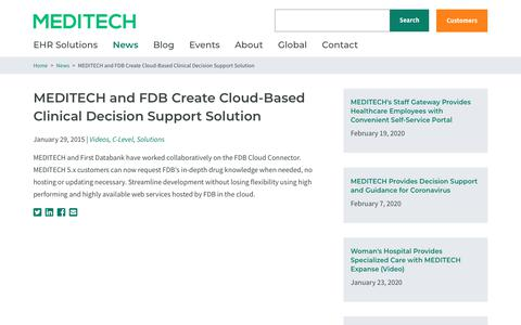 Screenshot of Support Page meditech.com - MEDITECH and FDB Create Cloud-Based Clinical Decision Support Solution | MEDITECH - captured Feb. 20, 2020