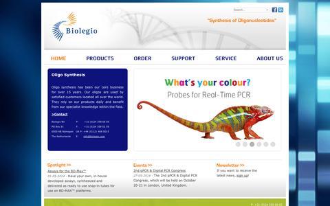 Screenshot of Home Page biolegio.com - Custom Oligo Synthesis - Biolegio - captured Oct. 5, 2014