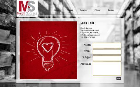Screenshot of Contact Page merchsuccess.com - merch success/retail merchandising solutions/chapel hill nc - captured June 10, 2017