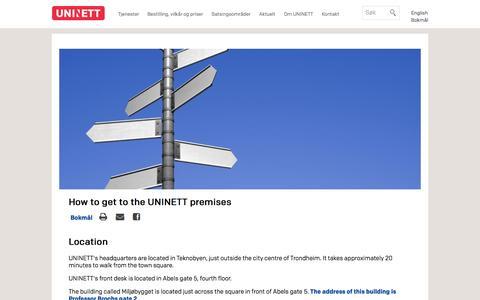 Screenshot of Maps & Directions Page uninett.no - How to get to the UNINETT premises   Uninett - captured Dec. 20, 2015