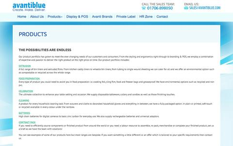 Screenshot of Products Page avantiblue.com - Avanti Blue Products - Polythene Bags, Films, Tableware & Plastic Products | Avantiblue - captured Oct. 27, 2014
