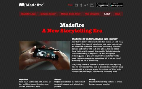 Screenshot of About Page madefire.com - About | Madefire - captured Sept. 16, 2014