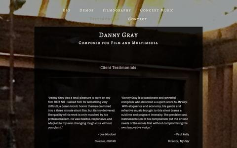 Screenshot of Testimonials Page dannygraymusic.com - Testimonials — Danny Gray - captured Oct. 5, 2014