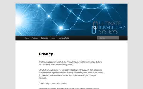 Screenshot of Privacy Page ultimateinventory.com.au - Privacy | Ultimate Inventory Systems - captured Dec. 2, 2016