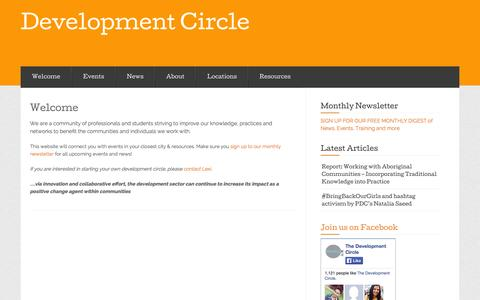 Screenshot of Home Page developmentcircle.org - Development Circle - captured Sept. 30, 2014