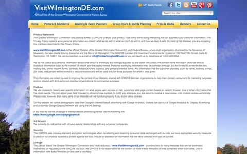 Screenshot of Privacy Page visitwilmingtonde.com - Wilmington Official Privacy Policy - Wilmington, Delaware & the Brandywine Valley - captured Oct. 3, 2014