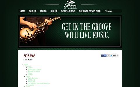 Screenshot of Site Map Page belterrapark.com - Site Map » Belterra Park - captured Oct. 5, 2014