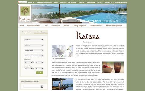 Screenshot of Testimonials Page kalaraco.com - Testimonials - captured Oct. 6, 2014