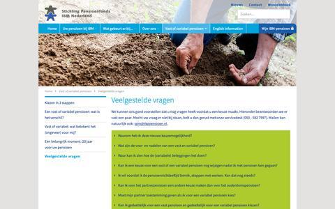 Screenshot of FAQ Page spin.nl - Veelgestelde vragen | Stichting Pensioenfonds IBM Nederland - captured Oct. 18, 2018