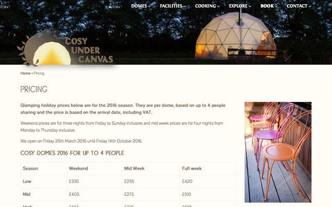 Screenshot of Pricing Page cosyundercanvas.co.uk - Prices   Glamping   Cosy Under Canvas - captured July 16, 2016