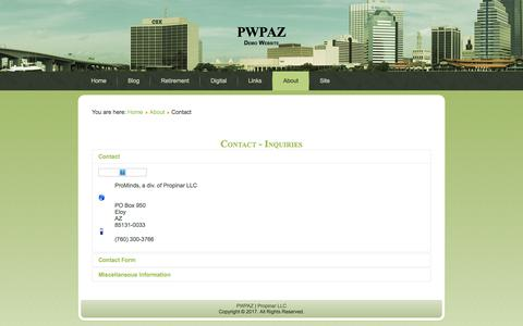 Screenshot of Contact Page pwpaz.com - Contact - PWPAZ - captured Aug. 21, 2017