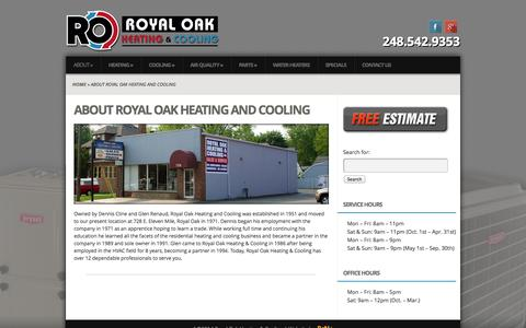 Screenshot of About Page royaloakheating.com - About Royal Oak Heating and Cooling | Royal Oak Heating & Cooling - captured Oct. 6, 2014