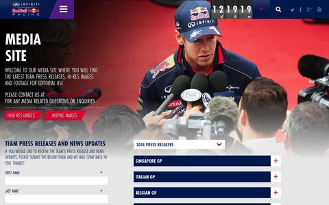 Screenshot of Press Page infiniti-redbullracing.com - Media | Infiniti Red Bull Racing - captured Sept. 23, 2014