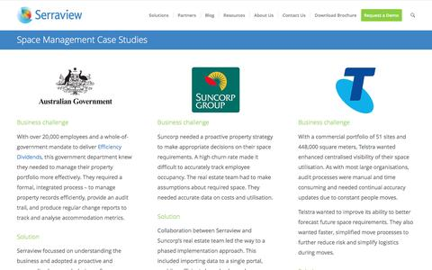 Screenshot of Case Studies Page serraview.com - Space Management Case Studies - captured May 26, 2017
