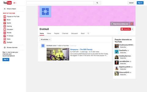 Screenshot of YouTube Page youtube.com - ErotikaX  - YouTube - captured Nov. 2, 2014