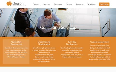 Screenshot of Services Page cireson.com - Microsoft System Center Consulting Services by CiresonCireson - captured July 13, 2016