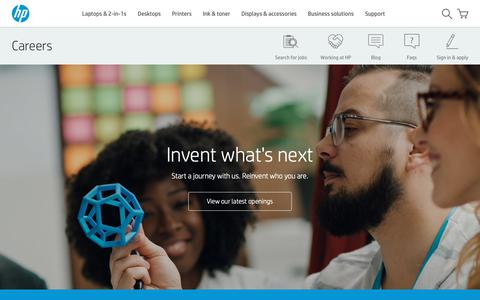 Screenshot of Jobs Page hp.com - Jobs and careers at HP | HP® Official Site - captured Oct. 12, 2018