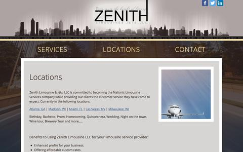Screenshot of Locations Page zenithlimo.com - Limo, Airport Shuttle, Party Bus, Valet Services, Private Jets | Madison WI - captured Oct. 19, 2018