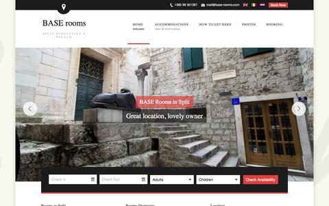 Screenshot of Home Page base-rooms.com - Accommodation BASE rooms in Split Croatia - captured Oct. 14, 2015