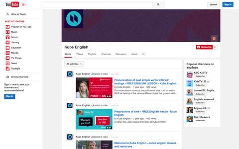 Screenshot of YouTube Page youtube.com - Kube English  - YouTube - captured Oct. 29, 2014