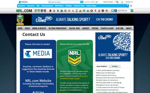 Screenshot of Contact Page nrl.com - Contact Us - captured Sept. 18, 2014