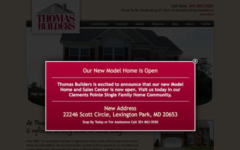 Screenshot of Home Page thomasbuildersinc.com - New Homes Builder in St. Mary's County, Calvert County, MD - captured Feb. 16, 2016