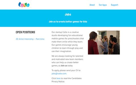 Screenshot of Jobs Page colto.com - Jobs at Colto - Join us to create better games for kids - captured July 20, 2018