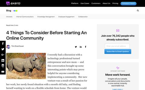 Screenshot of Blog axerosolutions.com - 4 Things To Consider Before Starting An Online Community - captured Dec. 10, 2019