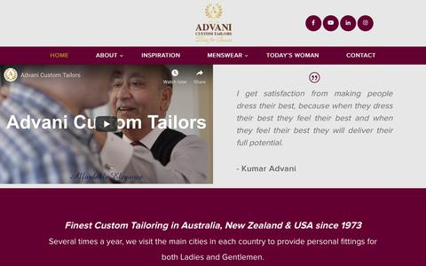 Screenshot of Home Page advanitailors.com.au - Home - Advani Custom Tailors - captured Nov. 25, 2019