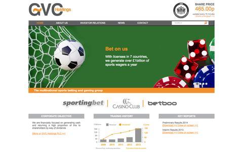 Screenshot of Home Page gvc-plc.com - GVC Holdings PLC - captured Sept. 19, 2014