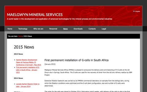 Screenshot of Press Page maelgwyn.com - 2015 News | Maelgwyn Mineral Services - captured Nov. 17, 2016