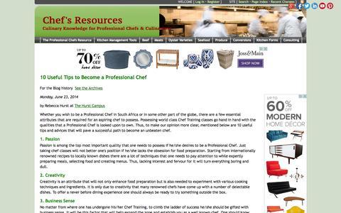 Screenshot of Blog chefs-resources.com - Chefs Resources Blog - Chef's Resources - captured Nov. 2, 2014