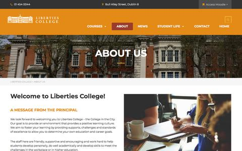 Screenshot of About Page libertiescollege.ie - About Us - Liberties College - captured July 18, 2018