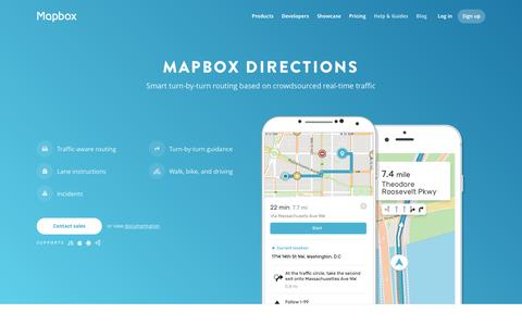 Screenshot of Maps & Directions Page mapbox.com - Directions | Mapbox - captured Feb. 2, 2017