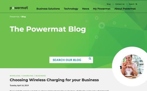 Screenshot of Blog powermat.com - Blog: Wireless Charging Everywhere | Powermat • Life at 100% - captured Dec. 5, 2019