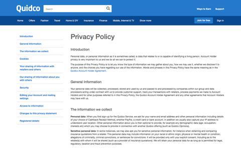 Screenshot of Privacy Page quidco.com - Quidco - The UK's #1 Cashback Site - captured Aug. 1, 2016
