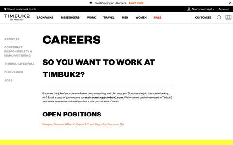 Screenshot of Jobs Page timbuk2.com - Careers – Timbuk2 - captured Sept. 21, 2018