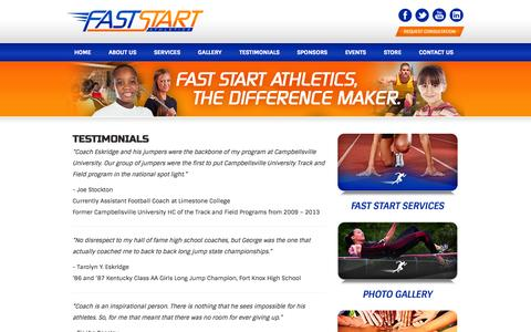 Screenshot of Testimonials Page faststartathletics.com - Fast Start Athletics - The Difference Maker  » Testimonials - captured Oct. 5, 2014