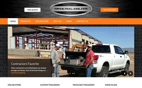 Screenshot of Home Page truck-tool-box.com - Custom Truck Tool Boxes   Truck Bed Storage & Drawers - captured Feb. 16, 2016